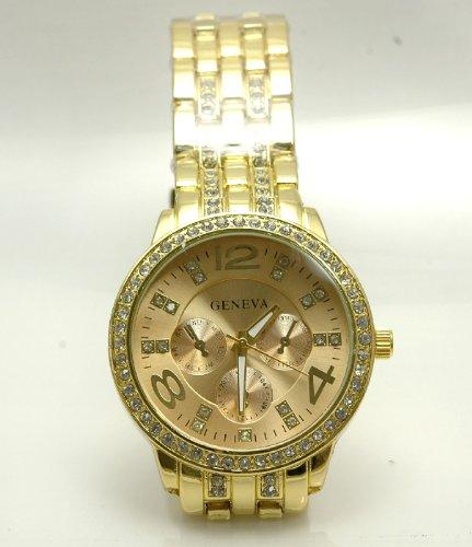 金ぴか好き! ゴールド ウォッチ 贅沢 腕時計 宝石飾り 伊達メンズ