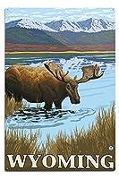 ムースDrinking at Lake–Wyoming 12 x 18 Metal Sign LANT-13767-12x18M