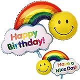 誕生日 風船 飾り付け バルーン バースデー スマイル ニコちゃん 風船 大きい 93×56cm パーティ イベントに