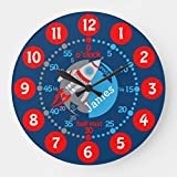 "Classic Wood Clock, Non Ticking Clock 12"" Kids Boys Learn to Tell Time Blue Red Space Wooden Decorative Round Wall Clock"