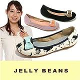 バレエシューズ SHOES JELLY BEANS ( ジェリービーンズ )(1763) ラウンドトゥ ペタンコ底 カッター リボン エナメル スエード 靴 黒