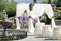 Baocicco お祝い用ウェディングデコレーション 万年背景付き 10x7フィート ビニール製写真 背景 ロマンチックなウェディングセレモニー ホワイト ウェディング 天蓋 結婚式 花ブーケ