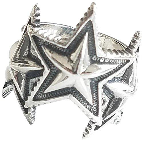C☆S ロゴあり  925silver シルバー リング 指輪 スリースター リング フリーサイズ (シルバー ロゴあり)