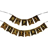 WERNNSAI 1920年代 ハッピーバースデー バンティングバナー 20年代テーマ パーティー装飾 ラグジュアリーゴールドとブラックバナー ブラック 43329-3136