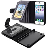 CONVERSE レディース OFTEN iphone 5 5S 専用手帳型、財布型ケース 耐衝撃、防塵フル  シンプルなタイプポケット、カード機能付きレザーケースカバー 黒