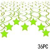 緑の星 ぶら下がり 渦巻き デコレーション - 聖パトリックのパーティー 天井吊り ガーランド ジャングル サファリ 動物 恐竜 ベビーシャワー 誕生日パーティー 記念品 デコレーション 36枚