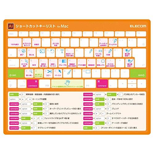 エレコム マウスパッド ショートカットキー 入力支援 illustrator Ai Mac用 オレンジ MP-ECSCBGAIM
