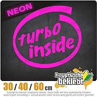 Turbo inside - 3つのサイズで利用できます 15色 - ネオン+クロム! ステッカービニールオートバイ