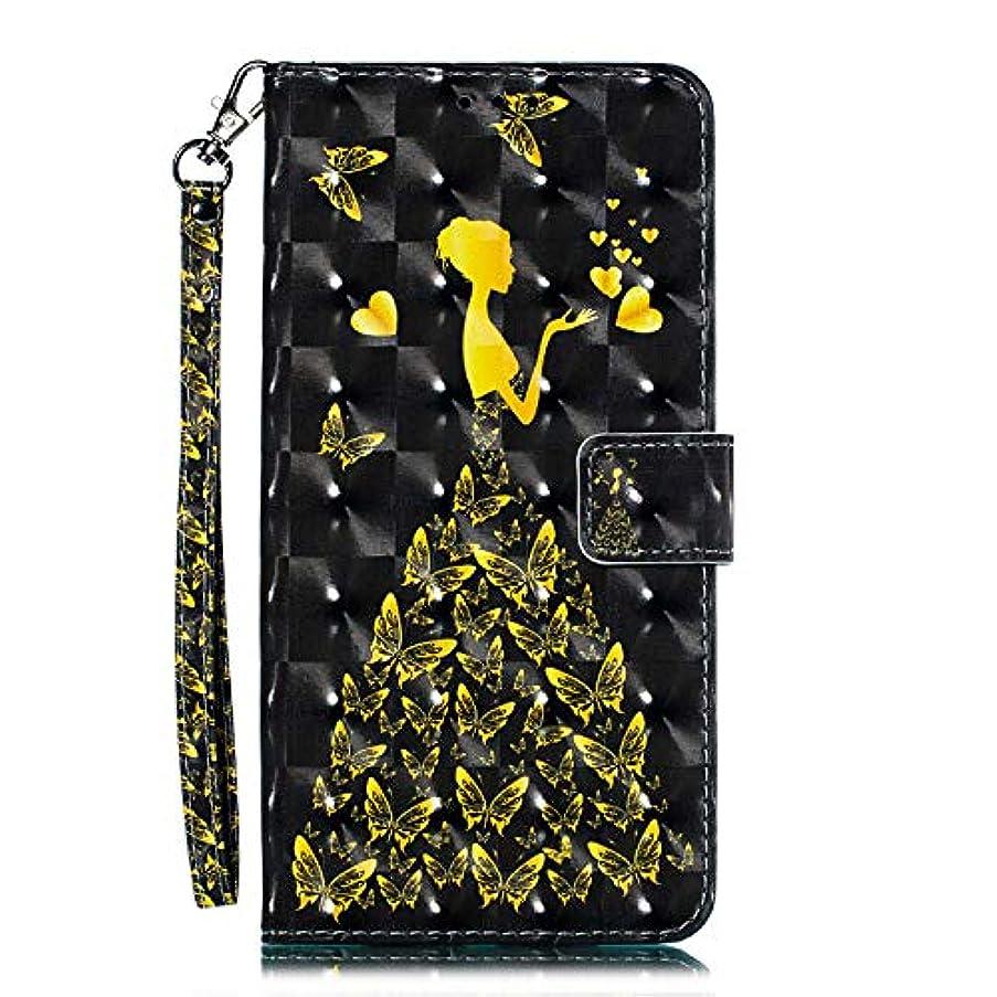 デコードするデコードするデュアルOMATENTI Galaxy M30 ケース, トレンディでクール 人気 新製品 薄型 PU レザー 財布型 ケース, 3Dカラーパターン おしゃれ 手帳カバー き スタンド機能 マグネット開閉式 カード収納付 Galaxy M30 用 Case Cover, 蝶の少女