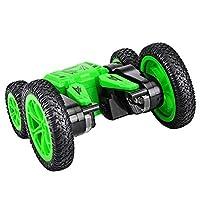 4WDラジコンカー、1:24 360°ダブルアクロバット回転JJ-RC Q71 RCカー、6チャンネル、2.4GHZ高速充電式オートリモコン付きLEDライト (グリーン, one size)