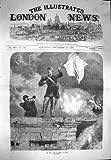 1870 の戦争場面降伏のセダンの兵士の白旗