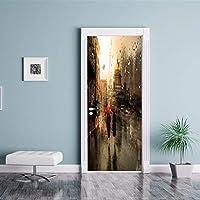 3dウォールステッカーdiyドアステッカーストリートシーンのための雨のための部屋の寝室の装飾ステッカーウォールペーパー壁画pvc防水取り外し可能な77×200センチメートル