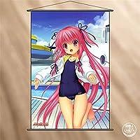 KUTAO タペストリー Angel Beats! エンジェルビーツ ユイ ポスター 掛ける絵 巻物 軸物 アニメ おしゃれ 萌え (90cmX60cm)