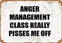 怒り管理クラス 金属スズヴィンテージ安全標識警告サインディスプレイボードスズサインポスター看板建設現場通りの学校のバーに適した