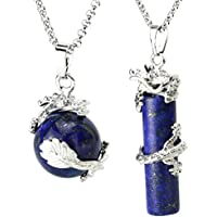 BEADNOVA 2pcs Dragon Wrapped Round Ball Cylinder Gemstone Necklace Crystal Healing Couple Pendant Necklaces Set