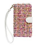 【ACHURA】 Apple アップル iPhone11 合皮 レザー 携帯 ケース スマホ カバー ピンク ツイード お洒落 秋冬 可愛い 人気 横型 保護 フィルム 付