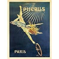 ADVERT PHEBUS WHEEL TYRE ANGEL FAIRY VINTAGE RETRO PARIS POSTER 30X40 CM 12X16 IN PRINT 広告公正ビンテージパリポスター