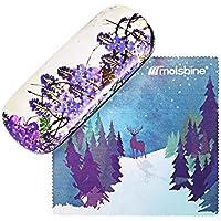 Molshine Retro Light Portable Glasses Case for Reading Glasses (lavender, D)