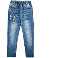 Kidscool Space Girls Floral Embroidered Ripped Washed Elastic Waist Jeans