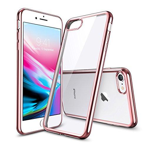 iPhone8 ケース クリア ESR iPhone7 カバー ソフトTPU [衝撃吸収 薄型 超軽量 傷防止 指紋防止 ワイヤレス充電に影響なし] クリスタル 高透明 iPhone8/iPhone7通用保護ケース(ローズゴールド)