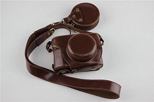 OLYMPUS オリンパス E-PL9 E PL9 14-42mm カメラ ケース、koowl 手で作った最高級のpu革の全身カメラ保護殻、OLYMPUS オリンパス PEN E-PL9 E PL9 ケース(14-42mmのレンズに適用)向けの透かし彫りベース+ショルダーストラップ+ミニ収納ケース、防水、防振、携帯型 (コーヒー色)