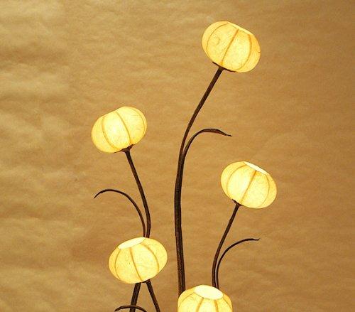 韓国製 韓紙(桑紙)照明 鉢花・フラワー(アネモネ)モチーフ 丸型 手作り 黄色 ランプシェード アンティーク フロアライト ベッドサイドランプ