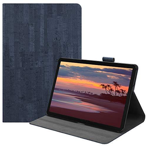 Happon の Samsung Galaxy Tab S4 10.5 inch T835 純正 レザー 財布 シェル カバー, フリップ 立つ, カード スロット, スタイリッシュ, Blue