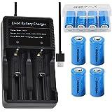 4本 16340 充電池 3.7V RCR123A 1000mAh リチウムイオン電池 & USB電池充電器 電池ケース 懐中電灯、ヘッドライト、カメラに適用