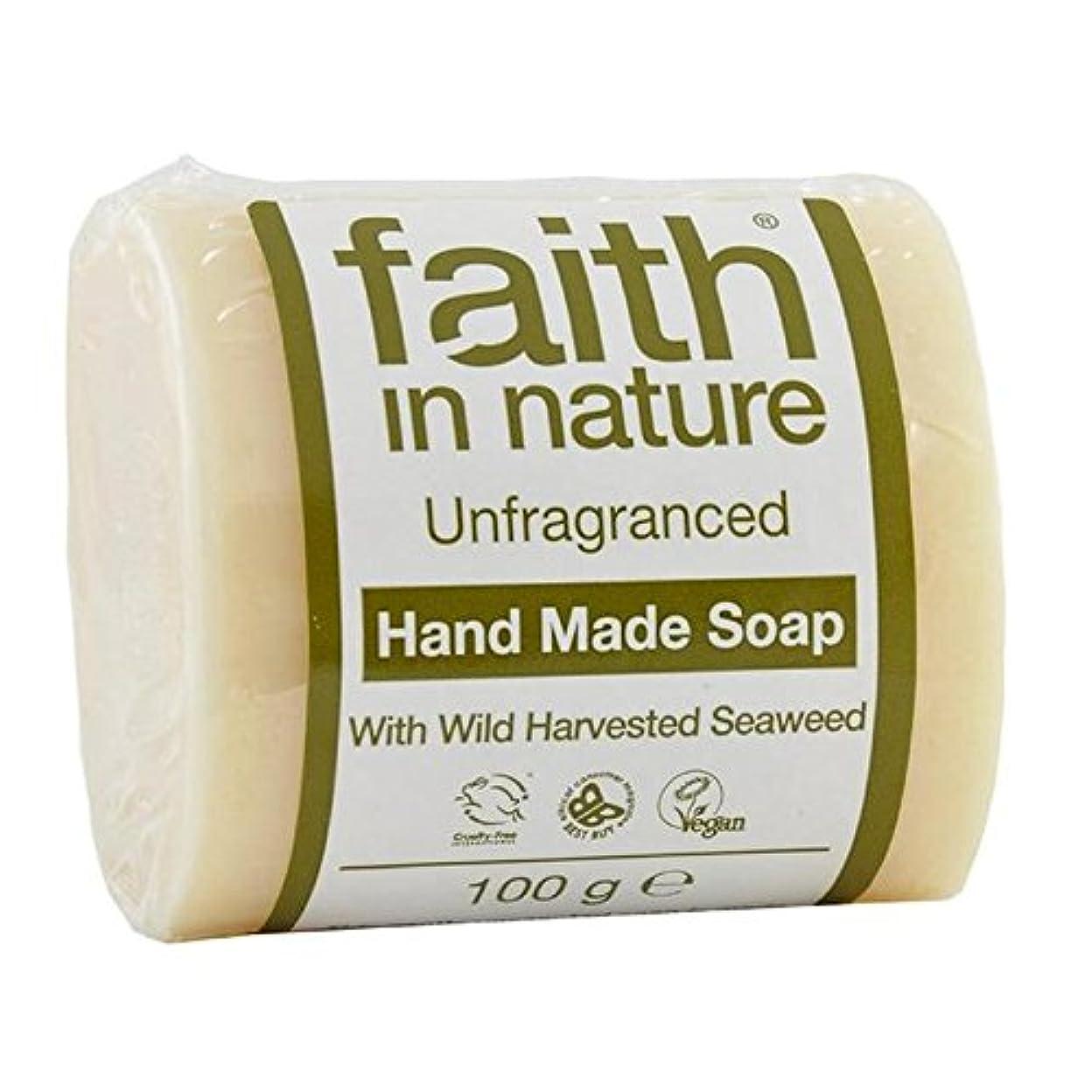 浸した上にところでFaith in Nature Unfragranced Pure Hand Made Soap 100g - (Faith In Nature) 自然の中で信仰は純粋な手作り石鹸100グラムを無香料 [並行輸入品]