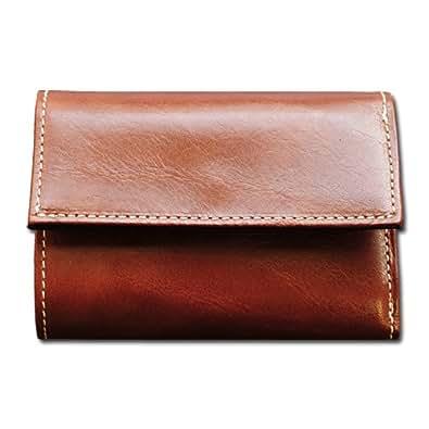 【Black Riri】日本製 牛革 コインキャッチャー ミニ 財布 メンズ  レザー 三つ折り財布 (ブラウン)