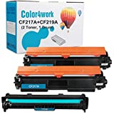 Color4work Compatible Replacement for HP 17A CF217A Toner Cartridge 2 Pack and HP 19A CF219A Drum Unit 1 Pack for HP Laserjet