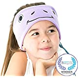 CozyPhones Kids Headphones Volume Limited with Ultra-Thin Speakers & Super Comfortable Soft Fleece Headband - Perfect Children's Earphones for Home and Travel - PURPLE FROGGY