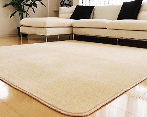 ラグ 洗える 185×185 ラグマット 滑り止め付 マット ラグカーペット 夏 冬 カーペット ホットカーペット対応 フランネル 長方形 四角 絨毯 リビング 床暖房対応 マイクロファイバー Mサイズ (M無地・ベージュ)