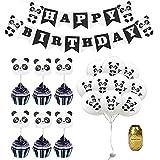 パンダテーマ 誕生日パーティー用品 パンダ模様 ハッピーバースデー バナー ケーキトッパー 食品つまようじ ラテックスバルーン 子供用 誕生日パーティー装飾