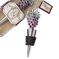 "Vineyard Collection ワインボトルストッパー フェイバー 4.25"" x 1.5"" シルバー 1938"