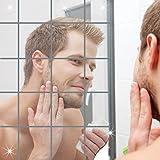 ミラー ウォールステッカー 割れない 鏡 シルバー 四角形 壁貼りできる DIY 軽量 安全 寝室 客間 洗面間 化粧 壁装飾ミラー 鏡効果 デコレーション インテリア鏡貼 15*15*0.1 CM (9枚)
