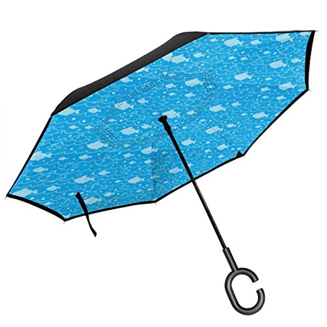 反論者チップ局長傘 逆折り式傘 車用傘 閉じると自立可能 耐風 撥水 遮光遮熱 コーティング C型手元 UVカット 8本骨 晴雨兼用 海の魚