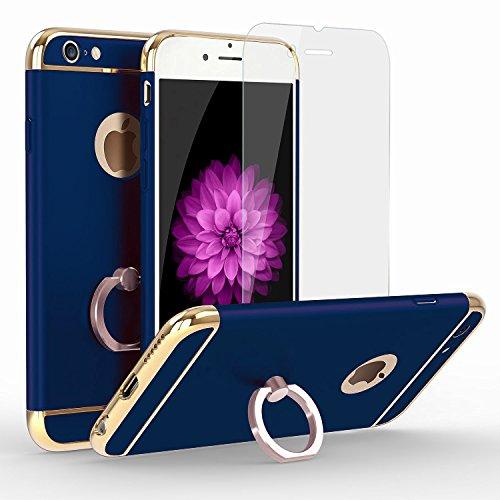 【MAMiO】iphone7リング付きケース 強化ガラスフィルム USB充電ケーブル 3点セット 落下防止リング スタンド おしゃれ で軽量 薄い 携帯カバー (ブルー)