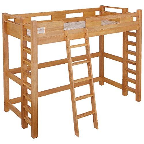業務用可 ロフトベッド G★SOLID 耐荷重400kg (梯子あり 高さ180cm 長さ210cm(ノーマル), ライトブラウン)