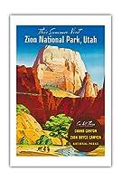 ザイオン国立公園, ユタ州 - グレートホワイトトーン、モノリス - ビンテージな世界旅行のポスター c.1950s - プレミアム290gsmジークレーアートプリント - 61cm x 91cm