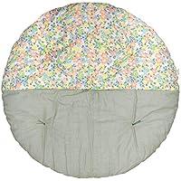 高岡 せんべい座布団 直径100cm ツートンカラー プチフラワーブルーグリーン×裏葉色