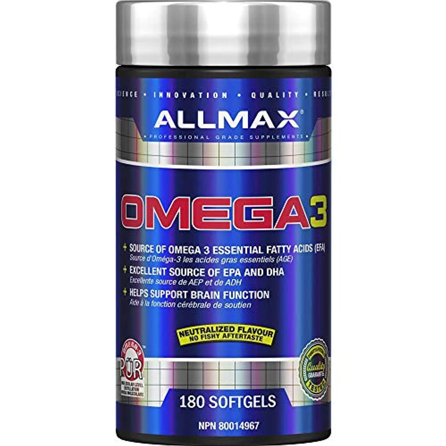メインリム裁定AllMax Nutrition - Omega 3 冷水魚オイルの集中 - 1ソフトジェル