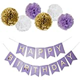 Mefuny Purple Happy Birthday Banner, 25cm Tissue Paper Pom Poms Flowers for Party Decoration Favour