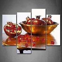 最初のキャンバスの壁アート–Deepレッドザクロ壁アート絵画プリント食品画像ホーム装飾ギフト 12x26inchx2Panel,12x35inchx2Panel 8219611F