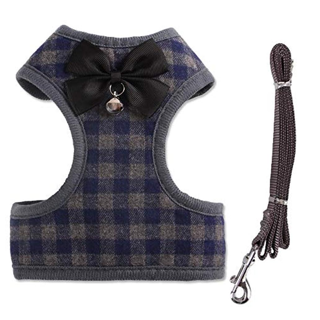 カスタム重なる配当ペット用品 子犬 猫用 ハーネス 犬ハーネスベスト ナイロンリーシュ かわいい英国のチェック柄のボウタイスタイル、通気性のダブル レイヤベット布 360度の回転可能な留め金のためのメタルDリング 子犬のトレーニングに最適ウォーキング調整可能なファッション (L:チェスト= 46-64cm, ブルー)