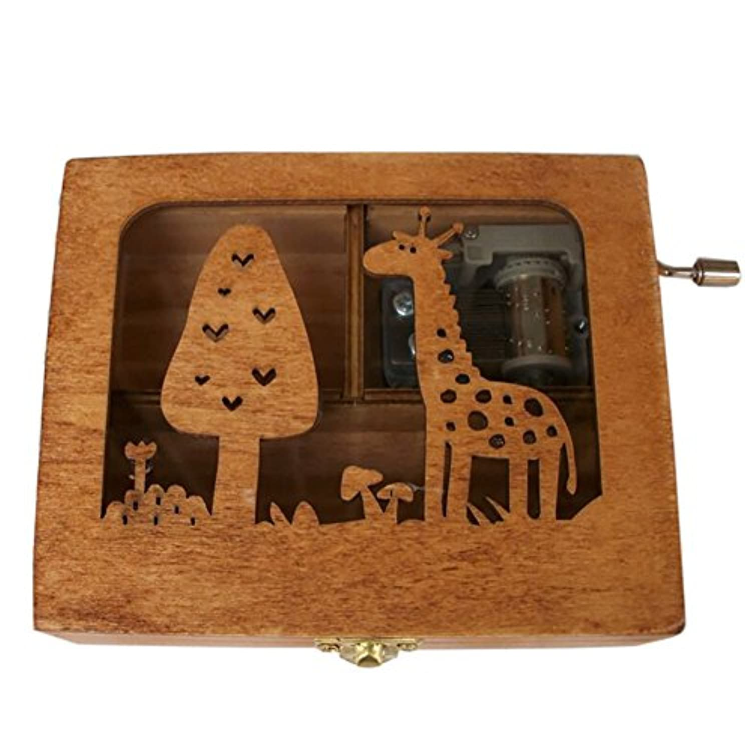 Balai Engraved Wooden Music Box With A Giraffe Engraved On Top Forest Animal Hand Wind Up Mechanism Music Box