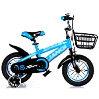 自転車 子供用自転車2-7歳12/14/16/18インチブルー+トップフラッシュホイールアイロンボックスギフト (サイズ さいず : 16 inch)