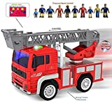 funerica Mini Fire Truck with Lights and Sounds – Extendableラダー – 強力な摩擦ホイール – Firetruck Toy for Kids /幼児 – ボーナス: 5 funerica Fireman Figures