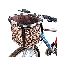 自転車カゴ 前 バスケット 折りたたみ 脱着 サイクリング バッグ 小径車に最適 (コーヒー)