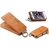 FLOVEME iPhone6/iPhone6s ケース 手帳型 レザー カバー カードポケット スナップボタン式 アイフォン6/6s用 財布型カバー ブラウン [並行輸入品]